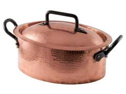 Picture of French Copper Studio Hammered Copper Dutch Oven Oval Roaster