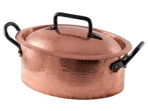 French Copper Studio Hammered Copper Dutch Oven Oval Roaster
