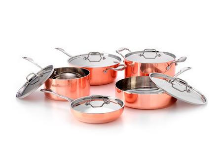 Picture of French Copper Studio Tri-Ply Copper Cookware Set 10 pc