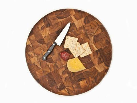 End Grain Butcher Circular Teak Wood Board by Proteak