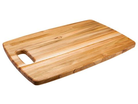 Edge Grain Marine Rounded Rectangle Teak Cutting Board with Centered Hand Hole