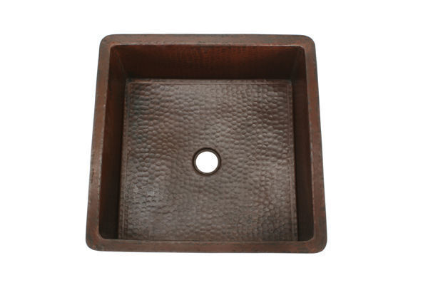 """Picture of 18"""" Square Copper Bar Sink by SoLuna"""
