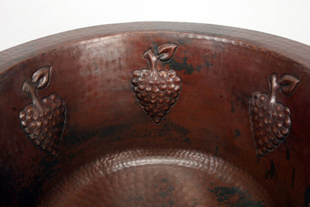 """Picture of 16"""" Round Copper Bar Sink - Grapes by SoLuna"""