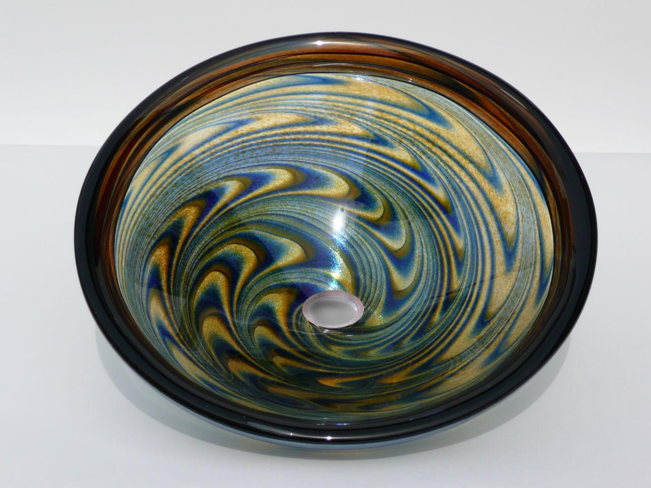 Blown Glass Sink | Amber Blue Vortex