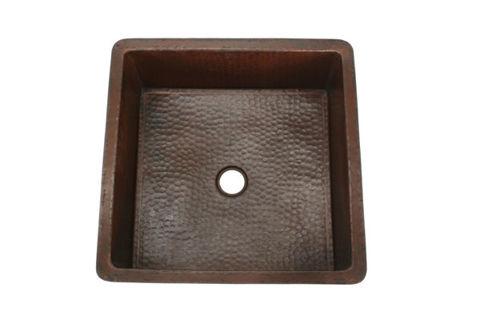 Large Square Copper Kitchen Prep or Bar Sink