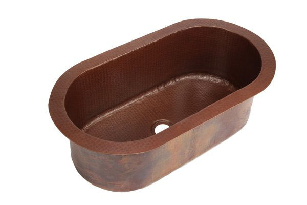 "Picture of 26.5"" Oval Tub Copper Bar Sink by SoLuna"