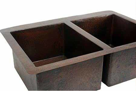 """Picture of 42"""" Double Well Copper Kitchen Sink - 50/50 by SoLuna"""