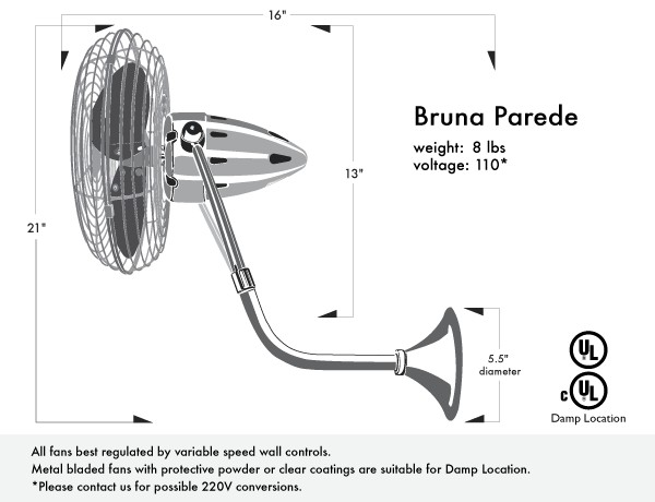 Picture of Bruna Parede Wall-Mounted Fan
