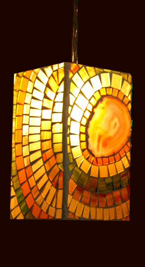 Picture of Pendant Light | Mosaic Glass | Agate Slice