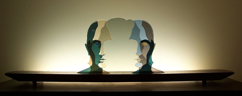 Picture of Two Faced Glasscape Lighting Sculpture