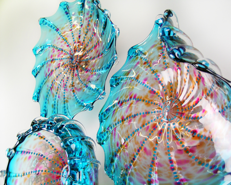 Picture of Aquatic Blue Green Lustre Blown Glass Platters Wall Sculpture