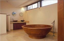 Helio Teak Wood Bathtub