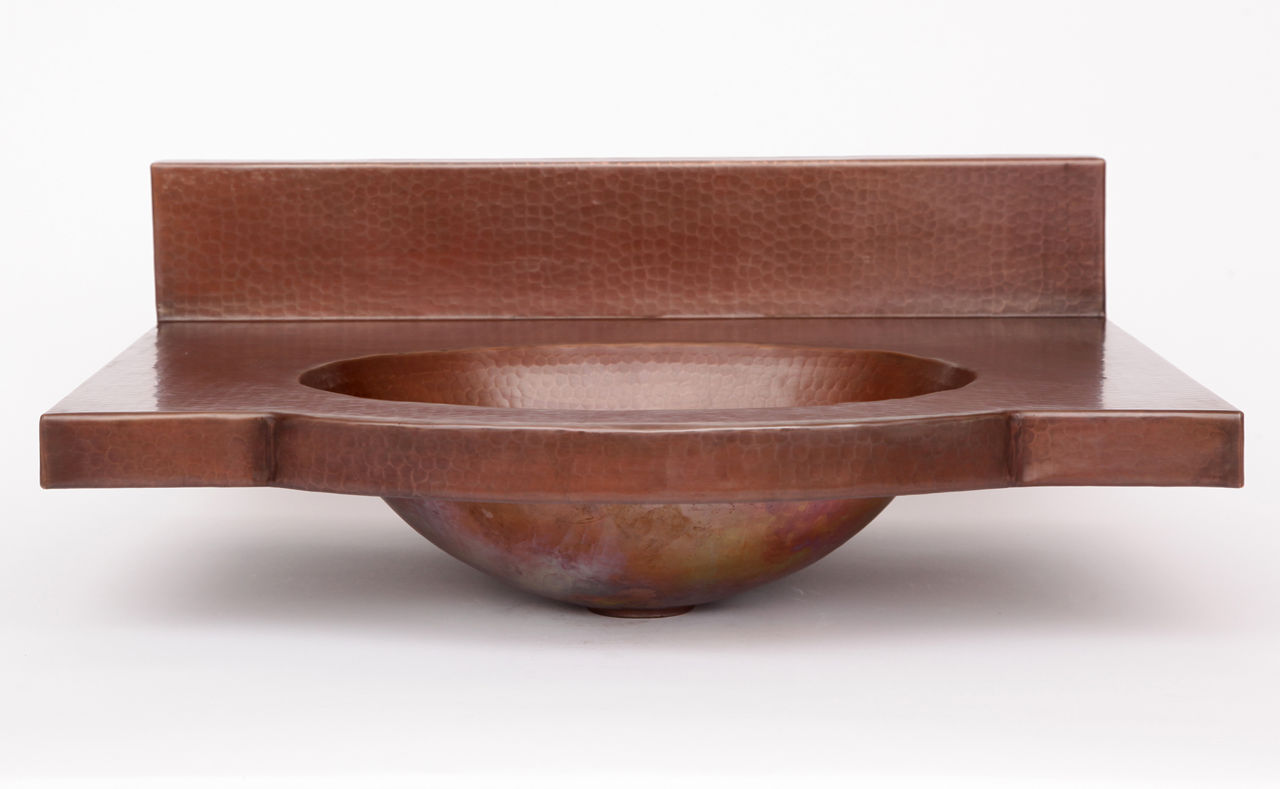 """Picture of 24"""" Wall-Mount Oval Copper Bathroom Sink by SoLuna"""