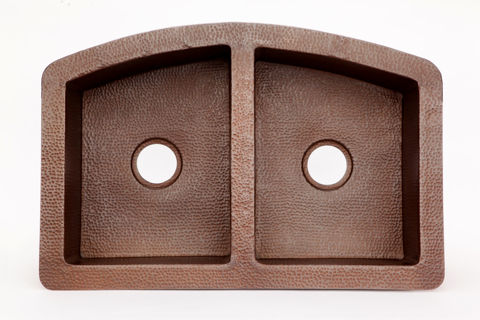 """33"""" Rounded Front Copper Farmhouse Sink - 50/50 by SoLuna"""