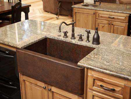 "Picture of 36"" Single Well Copper Farmhouse Sink by SoLuna"