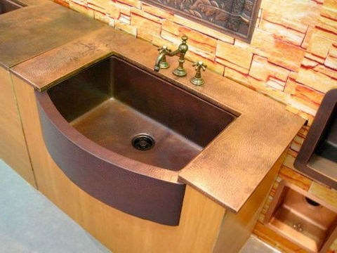 """36"""" Round Front Copper Farmhouse Sink by SoLuna"""