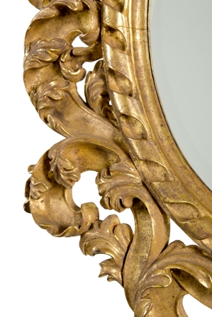 Picture of Hand-Carved Oval Gold Leaf Mirror