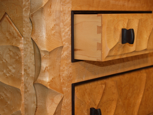 Picture of Sculpted Cherry and Maple Dresser
