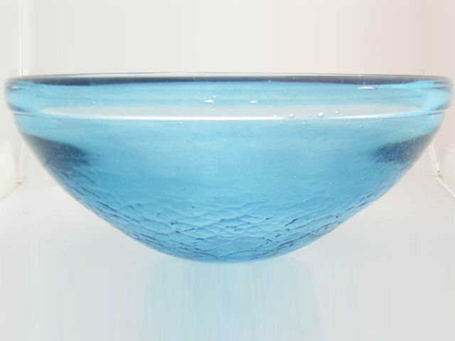 Blown Glass Sink | Silver Blue Iridescent Classic