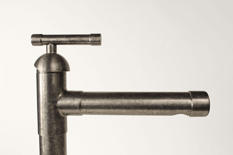 Picture of Sonoma Forge | Kitchen Faucet | Brut Cap Spout with Side Spray | Deck Mount