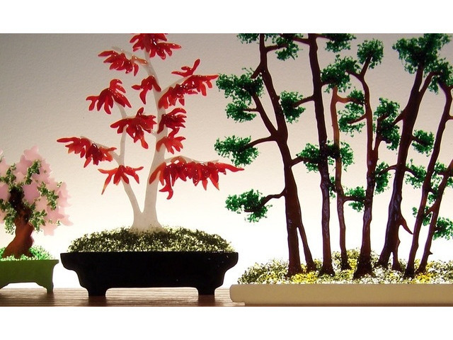 Bonsai Glasscape Lighting Sculpture Artisan Crafted Home