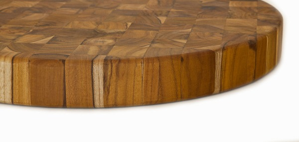 Picture of End Grain Butcher Circular Teak Wood Board by Proteak