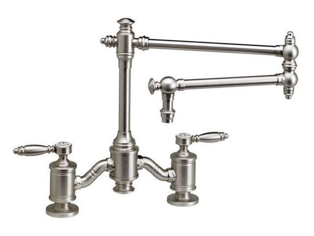 """Picture of Waterstone Towson 18"""" Articulated Spout Bridge Kitchen Faucet - Lever Handles"""