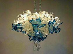 Crystal Blue Blown Glass Chandelier