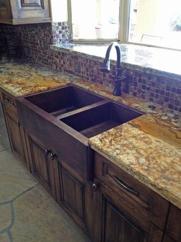 """33"""" Copper Farmhouse Sink - 50/50 by SoLuna"""