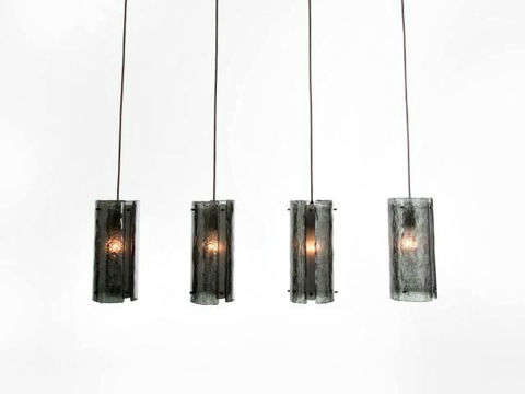 Linear Chandelier | Textured Glass | 4 pc
