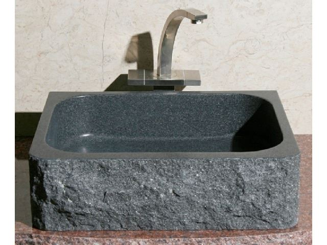 Picture of Rectangular Stone Bath Sink with Rough Exterior