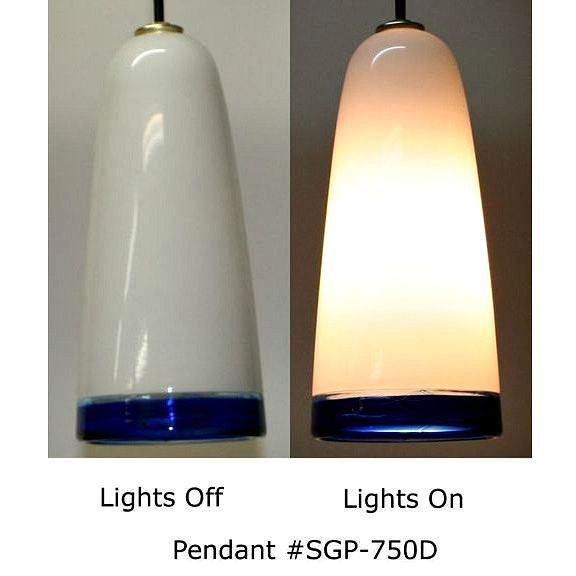 Picture of Blown Glass Pendant Light | White Cobalt