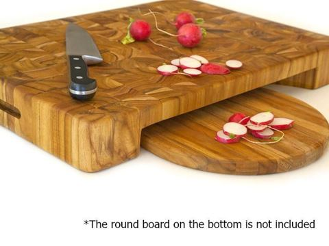 End Grain Butcher Block with Hand Grips and Bowl Cut Out by Proteak
