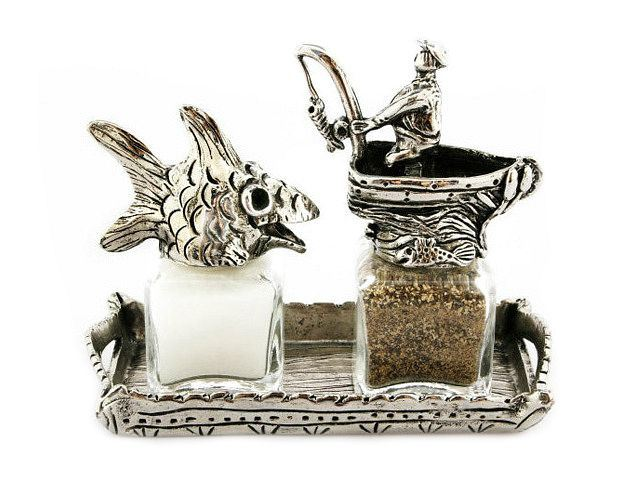 Picture of Fish and Fisherman Salt and Pepper Shakers