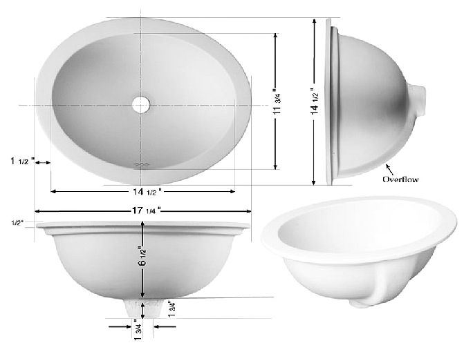 """Picture of Marzi 17"""" Self-Rimming Oval Ceramic Sink with Flat Rim"""