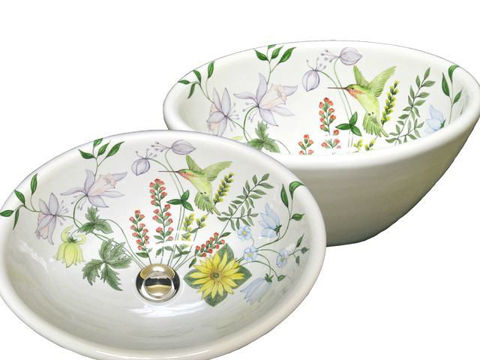 Hand Painted Sink - Hummingbird in Flowers - Oval