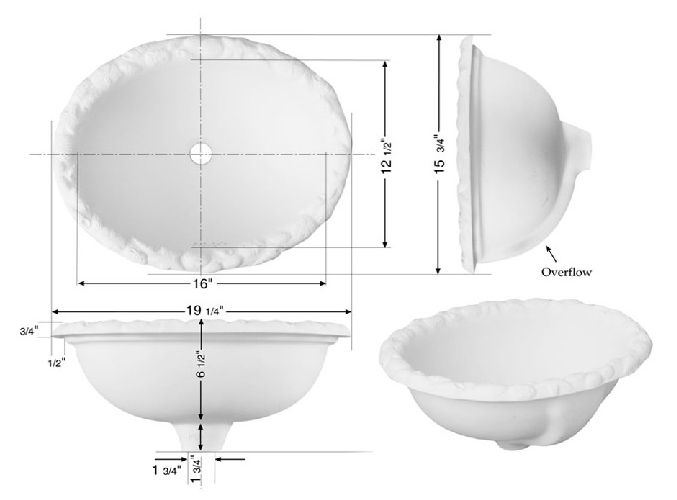 Picture of Marzi Oval Ceramic Bath Sink with Sculpted Sea Shell Rim