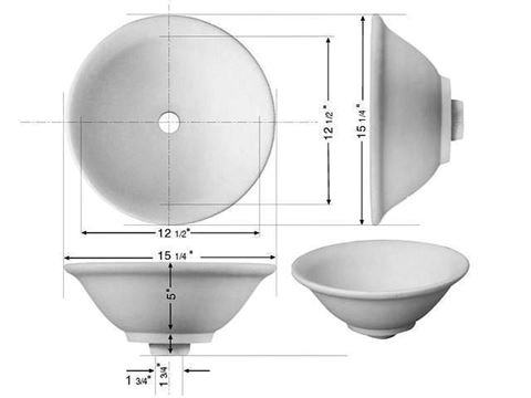 "Marzi 15"" Round Ceramic Vessel Bath Sink"