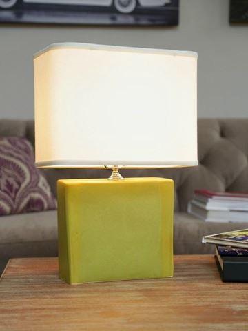 Medium Rectangular Lamp with Green Ceramic Base by Alex Marshall Studios