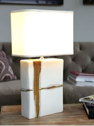 Picture of Large Rectangular Lamp with Sienna on Matte White Base by Alex Marshall Studios