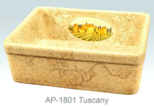 Picture of Tuscany Design on Single Bowl Fireclay Kitchen Sink