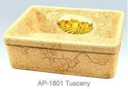 Tuscany Design on Single Bowl Fireclay Kitchen Sink