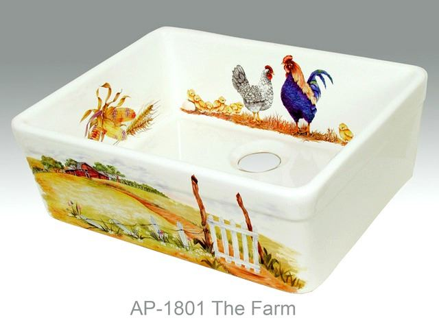 Picture of The Farm Design on Single Well Fireclay Kitchen Sink