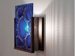 F/N 1 Half Moon Blue Fused Glass Wall Sconce