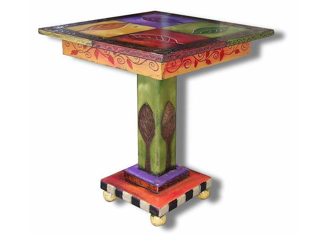 Picture of Hand Painted End Table - 4 Leaf
