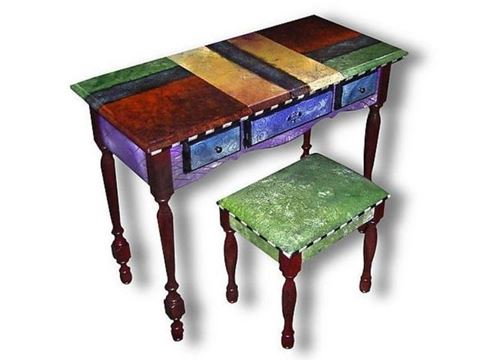 Hand Painted Vanity and Bench Set