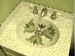 Picture of Emerald Fleur de Lis Integral Bathroom Sink