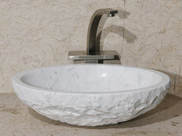 "Picture of 18"" Oval Stone Vessel Sink with Rough Exterior"