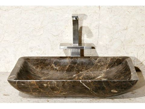 """20"""" Rectangular Stone Vessel Sink with Rounded Walls"""