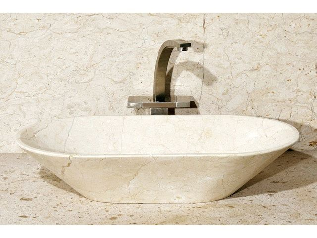 "Picture of 24"" Oval Stone Vessel Sink with Flat Bottom"